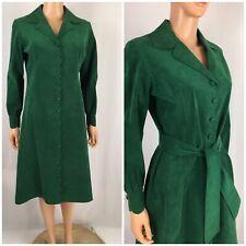 Vintage 1950s 60s Shirt Dress Coat Dress Scalloped Duster Mod Faux Suede US M