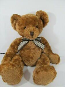 """Animal Alley Golden Brown Teddy Bear Plush w/Plaid Bow Toyrus 15"""""""