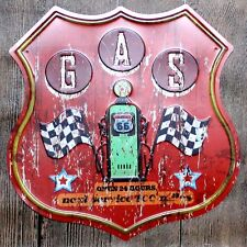 Metal Tin Sign route 66 24h gas station Bar Pub Vintage Retro Poster Cafe ART