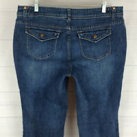 Simply Vera Wang womens size 14 stretch blue medium wash flap bootcut jeans EUC