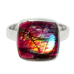 Red Flash Labradorite 925 Sterling Silver Ring Jewelry s.10 BR85454