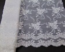 Double Scalloped Floral Embroidery WHITE Lace Fabric w/ Sequins Wedding Dress