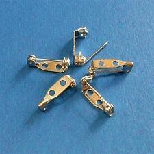 15 Bar Style Metal Safety Lock Pin Backs Decoration Brooch Craft DIY 15mm Siver