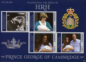 Tanzania Royalty Stamps 2013 MNH Prince George Royal Baby William & Kate 4v M/S