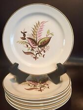 """T S & T 109 Bread/Butter Plates Pink/Green/BrownLeaves Gold Trim 6 1/4"""" LOT OF 6"""