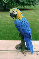 Blue Macaw Parrot Tropical Pet Bird Figurine Decoration Ornament Mexico 15 in.