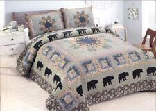 Queen Quilt Bedspread Mountain Black Bear Log Cabin Set Matching Shams