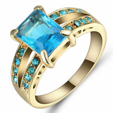 Blue Sapphire Crystal Wedding Ring Women's 10Kt  Yellow Gold Filled Size 7