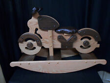 Motorcycle Rocking Horse Rocker Hobby Horse  Solid Oak Kids Toy Stained Wooden