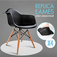 Schwarz Wohnzimmerstuhl Retro Stühle Kunststoff Polstert Esszimmer Bürostüle X 4