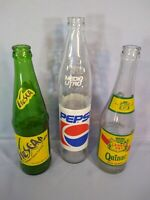 Lot of Three Spanish Language Glass Soda Bottles - Fresca, Pepsi, Canada Dry