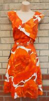 M&CO RUST ORANGE ROSES WHITE FLORAL WEDDING BELTED A LINE PARTY FLIPPY DRESS 18