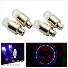 4 X BLUE Tyre Valve Lamp Contour Safety Flashing LED Light Lamp For Car SUV Bike