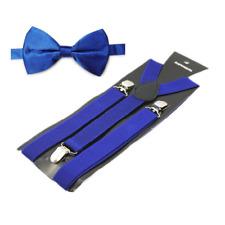 Hosenträger Royal Blau Hosen Träger Set Fliege 3 Clip Damen Herren Träger Y-Form