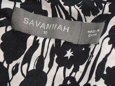SAVANNAH MonochromeFloralV-neckParty Size10 as NEW