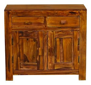 Wooden 2 Door & 2 Drawer Small Sideboard made from Sheesham Wood