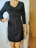NEW BODEN FITTED KNITTED KNOT DRESS SIZE UK 12R US 8R BLACK 95% VISCOSE 5% ELAST
