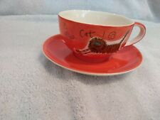 Whittard of Chelsea Red cats cup & saucer designed by Beth