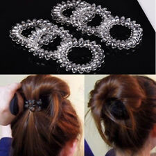 6Pcs Clear Elastic Rubber Hair Ties Hairband Spiral Rope HairBand New