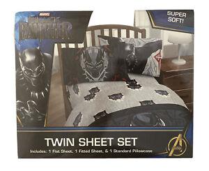 NEW Jay Franco Marvel Black Panther Wakanda 3 Piece Twin Sheet Set Avengers