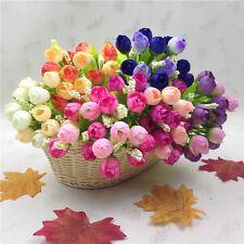 15head Artificial Seda Rosa Flor Floral Jardín Hogar Boda Ramo Decoración