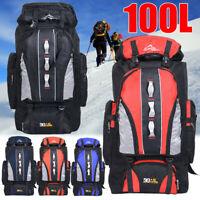 100L Outdoor Backpack Hiking Camping Travel Bags Trekking Rucksack Waterproof