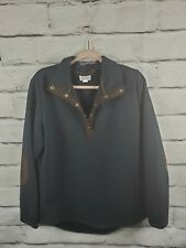 Top it Off Womens Sz Large Quilted Jacket Equestrian Style Navy Blue Brown