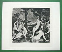 NUDE Mythology Diana & Callisto by Titian - SUPERB Antique Print