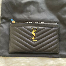 YSL Bill Pouch In Black Cavier Gold Hardware