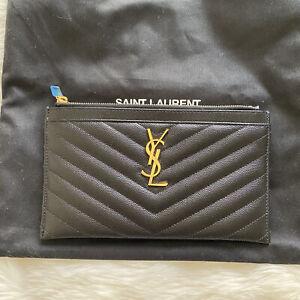 YSL Bill Pouch In Black Cavier Gold Hardware