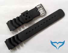 Armband Uhr Kautschuk 20 mm Federsteg Schließe matt Band Gummi Poseidon schwarz