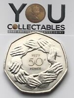 1973 50P COIN FIFTY PENCE - EEC Ring of hands - Rare and Highly collectable