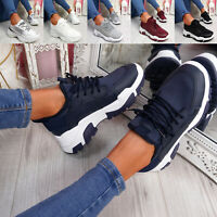 WOMENS LADIES SPORT CHUNKY TRAINERS LACE UP PARTY WOMEN SHOES SIZE UK