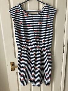 Sugarhill Boutique Blue White Stripe Flamingo Print Cotton Dress Size 14