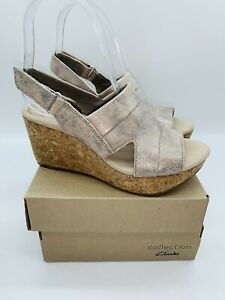 Clarks Women's Annadel Ivory Adjustable Wedge Sandals Pewter , choose size