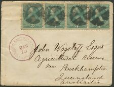 USA - Trans-Pacific Mail: 1880 (Jan) cover bearing 3c green strip 4, cork cancel