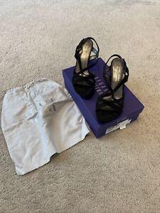 Ladies Black Print Suede Platform Sandals, Stuart Weitzman, Size 4.5 Uk