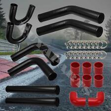 "2.5"" DIY Aluminum 8 PC Black Intercooler U Piping Kit w/Red Couplers & T-Clamps"