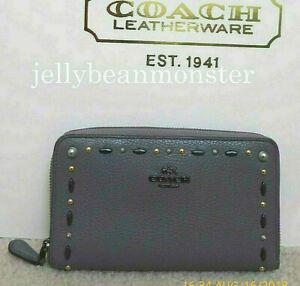 COACH 22892 Prairie Rivets Zip Medium Wallet Clutch Pouch Purse Heather Grey NEW