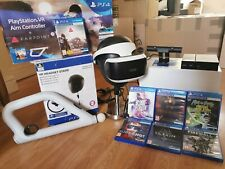 Playstation 4 VR Headset with stand, Camera, Aim Controller with 7 games