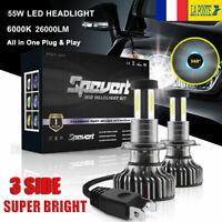 3 côtés 110W  H7 Voiture LED Ampoules Phare Feux Lampes Kit 30000LM 6000K Blanc