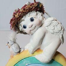 "Dreamsicles Cherub Dc236 ""Rainbow Rider"" Figurine Angel Signed 1995 Bird"
