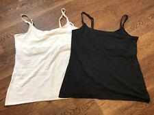 2 x H&M Mama Nursing Vest tops UK size L Black and White