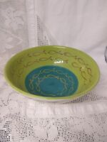 STUDIO POTTERY EARTHENWARE FRUIT BOWL DECORATED WITH FISH LIME GREEN TURQUOISE