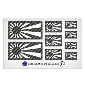 9X Japan rising sun flags Carbon fiber Background/white Laminated Decal Stickers