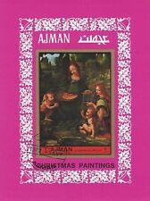 Ajman imperf miniature sheet Christmas Paintings Vinci Madonna Rocks CTO 1972