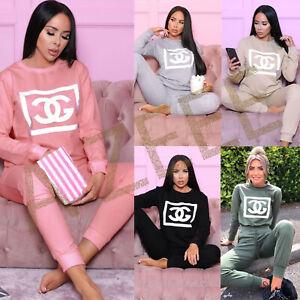 Ladies Women' Printed Top Bottom Loungewear Tracksuit Suit Set Pant 2 Pc Set UK