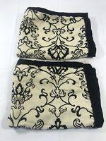 Set of 2 Black Beige Floral Sham Pillow Case French Cottage Chic Bedroom Decor