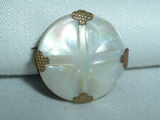 VICTORIAN VINTAGE BRASS MOTHER OF PEARL SCATTER PIN BROOCH IN GIFT BOX