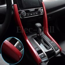 Red Carbon Fiber Look Dashboard Gear Side Cover Trims For 2016 2017 Honda Civic